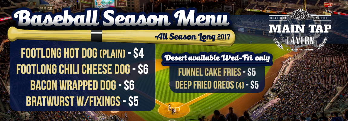 Baseball Season Menu
